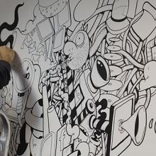 Mural en las oficinas de Fugu. Un proyecto de Diseño, Ilustración, Bellas Artes y Pintura de Óscar Lloréns - 11.11.2014