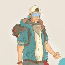 Snowboarder Illustration - Ander Fernández. Um projeto de Design, Ilustração, Design de personagens e Design de jogos de Ander Fernández Arroyo - 24.01.2015