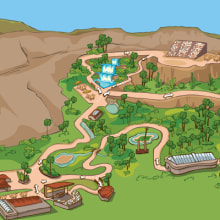 Palmitos Park - Ilustración de mapa . Un proyecto de Ilustración de Maria Dolores Abujas - 05.03.2013