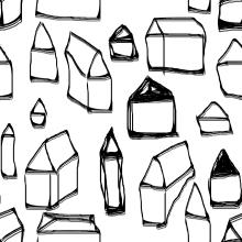 """""""Little houses"""" pattern, realizado en Hola Porqué en el curso DISEÑO TEXTIL Y ESTAMPACIÓN CONTINUA (PRINT AND PATTERN). Un proyecto de Ilustración, Moda y Serigrafía de pcarpena - 08.03.2015"""