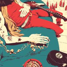 Tributo a Johnny Winter. Um projeto de Ilustração de Juan Esteban Rodríguez - 23.03.2015