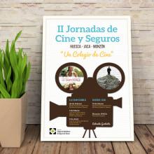 Cartel y Flyer: II Jornadas Cine y Seguros en Huesca. Um projeto de Design gráfico de Sara Palacino Suelves - 26.04.2015