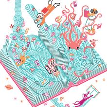 XVI Salón del Libro de Pontevedra. A Design, Illustration, Werbung, Bildung, Bildende Künste und Grafikdesign project by Carlos Arrojo - 30.11.2014