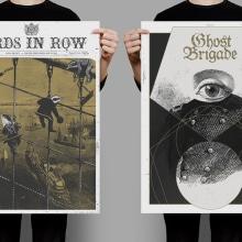 BIRDS IN ROW / GHOST BRIGADE. Un proyecto de Ilustración, Diseño gráfico, Serigrafía y Collage de Jaqueline Vanek - 30.05.2015