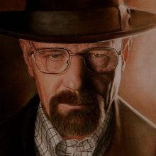 Walter White (Bryan Cranston) Retrato. Un proyecto de Bellas Artes y Pintura de Adrián Durá Reina - 21.05.2014