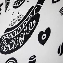 MURAL LE CHIGRE. Un proyecto de Ilustración, Br, ing e Identidad, Diseño de personajes, Diseño de interiores, Pintura y Caligrafía de Juan Díaz-Faes - 01.09.2015