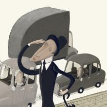 Ilustración hombre en la ciudad Albert Pinilla. Un proyecto de Ilustración de Albert Pinilla Ilustrador - 28.09.2015