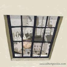 Ilustración niña ventana Albert Pinilla. Un proyecto de Ilustración de Albert Pinilla Ilustrador - 28.09.2015