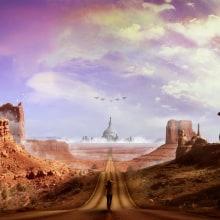 Matte Painting: Highway to Hell.. Un proyecto de Diseño, Fotografía, 3D, Dirección de arte, Diseño gráfico, Paisajismo y Collage de David Sanz Soblechero - 21.02.2016