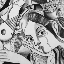 Cubismo, Pablo Picasso y yo. A Illustration, and Painting project by Sonia Alins Miguel - 12.31.2015