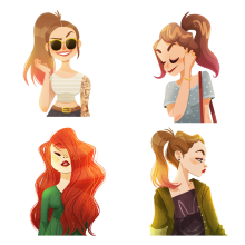 Hipster Girls. A Bildende Künste, Design von Figuren und Illustration project by Núria Aparicio Marcos - 28.02.2016