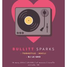 Cartel BULLITT + TURNSTILE + NUCLI. Um projeto de Design gráfico e Ilustração de Xavier Calvet Sabala - 02.03.2016