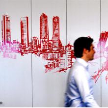 GR_MADRIDTZ_Mural corporativo DTZ. Un proyecto de Ilustración, Br, ing e Identidad y Diseño gráfico de Alfonso Girón Pérez - 04.04.2016