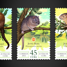 Jutías de Cuba. Sello postal. Un proyecto de Diseño gráfico e Ilustración de Roberto Roiz - 17.01.2016