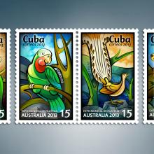 Expo Mundial de Filatelia Australia 2013. Sello postal. Un proyecto de Diseño gráfico e Ilustración de Roberto Roiz - 09.04.2013