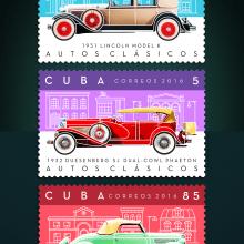 Autos clásicos. Sello postal. Un proyecto de Diseño gráfico e Ilustración de Roberto Roiz - 19.02.2016