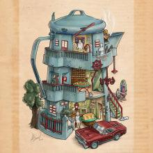 Café, Sopitas y Postre de Maizena. Un proyecto de Ilustración, Dirección de arte, Bellas Artes y Pintura de Fito Barraza - 20.06.2016