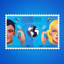 Aniversario 150 de la UIT. Sello postal. Un proyecto de Diseño gráfico e Ilustración de Roberto Roiz - 16.05.2015