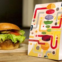 Receta ilustrada de una hamburguesa. Um projeto de Ilustração, Direção de arte, Culinária e Infografia de Erik Gonzalez - 26.09.2016