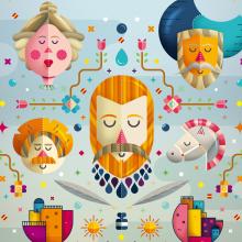 400 Aniversario del Quijote. Um projeto de Ilustração, Direção de arte, Design editorial e Design gráfico de Erik Gonzalez - 06.10.2016