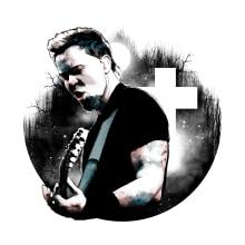 James Hetfield: Retrato ilustrado con Photoshop. Un proyecto de Diseño, Ilustración, Bellas Artes, Diseño gráfico, Collage y Arte urbano de Alberto Vega Galicia - 13.10.2016
