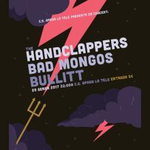 The Handclappers + Bad Mongos + Bullitt. Um projeto de Design gráfico e Ilustração de Xavier Calvet Sabala - 08.01.2017