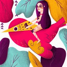 """Secret 7"""" - Cubierta Vinilo. Um projeto de Ilustração e Design de personagens de Fabiola Correas - 02.05.2016"""