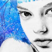 Blue 74x47cm. Un proyecto de Ilustración, Dirección de arte y Bellas Artes de Lucía Paniagua - 30.06.2017