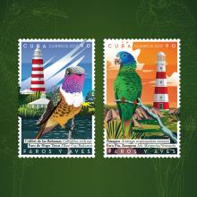 Faros y aves. Sello postal. Un proyecto de Diseño gráfico e Ilustración de Roberto Roiz - 01.04.2017