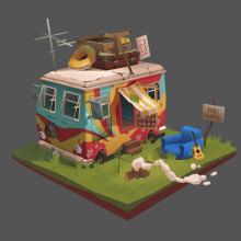 The Camp of the Hippies. Um projeto de 3D e Design interativo de Julia Rangel - 16.09.2017