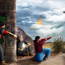El ataque de los OVNIS - Fotografía creativa y fotocomposición - Héctor Vela Rivas. Un proyecto de Fotografía, Marketing, Collage y Retoque fotográfico de Héctor Vela Rivas - 06.11.2017