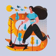 Ilustración - Canicross Gorraiz 2017. A Design, Illustration, Character Design, Graphic Design, and Vector Illustration project by Concepción Domingo Ragel - 11.14.2017