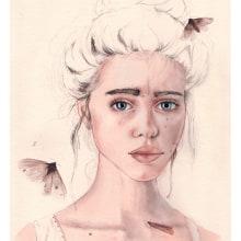 """Mi Proyecto del curso: Retrato ilustrado en acuarela - """"Lyse"""". A Illustration, Bildende Künste und Fotoretuschierung project by Coral - 28.11.2017"""