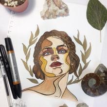Mi Proyecto del curso: Retrato ilustrado en acuarela art nouveau . Un projet de Illustration de Morgan Mariana Guido - 19.01.2018