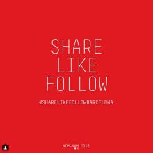 Share Like Follow Bcn. Un proyecto de Diseño de Xavier Grau Castelló - 12.03.2018