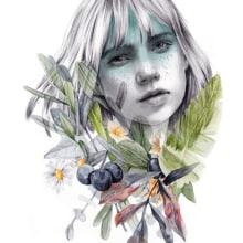 """Portada editorial. """"Ocho"""" de Rebeca Stones.. Un proyecto de Ilustración, Diseño editorial e Ilustración de retrato de Beatriz Ramo (Naranjalidad) - 15.06.2017"""