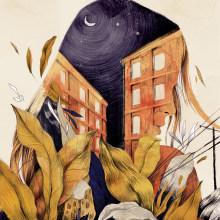 """Portada """"Tu nombre estaba en todas las ciudades"""". Rodolfo Serrano.. Un proyecto de Ilustración y Diseño editorial de Beatriz Ramo (Naranjalidad) - 15.06.2018"""