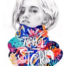 Tropical Storm. Un proyecto de Ilustración e Ilustración de retrato de Beatriz Ramo (Naranjalidad) - 15.06.2018