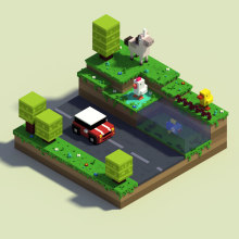Crossy Road Fan Art con MagicaVoxel. A 3-D, Kunstleitung und Spielzeugdesign project by Mariano Rivas - 12.07.2018