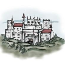 Castillo. Un proyecto de Diseño, Ilustración, Ilustración vectorial y Dibujo de Noe Tihista - 02.08.2018