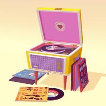 Record store day. Un proyecto de Diseño, 3D y Modelado 3D de Cecilia Meade - 07.08.2018