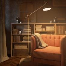 Reading Corner Night Version. A 3D, Interior Architecture & Interior Design project by Sara Gonzalez - 08.09.2018