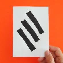 CÓDIGOS_BLISS_Cuatro tarjetas serigrafiada. A Crafts, Fine Art, Screen-printing, and Writing project by Tebo - 08.20.2018