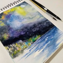 Galaxia con paisaje. Un proyecto de Ilustración y Bellas Artes de Ana Ines Cohen - 06.09.2018