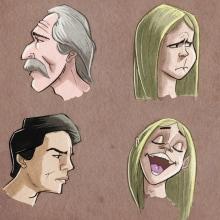Estudio de personajes y caras. Un projet de Illustration, Esquisse  et Illustration numérique de José Antonio Álvarez Pacios - 20.09.2018