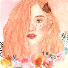 Mi Proyecto para el curso de retrato ilustrado en acuarela. Un proyecto de Creatividad, Pintura a la acuarela e Ilustración de retrato de Gina Rosero M - 28.09.2018
