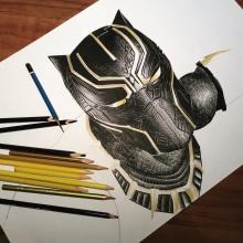 Hero: Black Panther . Un proyecto de Ilustración, Dibujo a lápiz, Dibujo realista y Dibujo artístico de Daniela Salazar - 30.09.2018