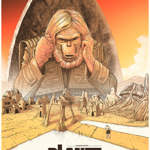 El planeta de los simios. A Poster Design, Illustration, and Digital illustration project by Cristian Eres - 10.12.2018