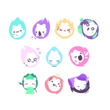 Mitsuko stickers - Sticker Place. A Design von Figuren und Icon-Design project by Sara Gummy - 29.01.2018