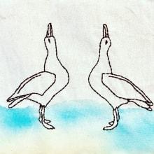 Blancura del lirio, aire y bailarina, gaviota de asombro. A Watercolor Painting, and Embroider project by Irene García Garrido - 11.18.2018